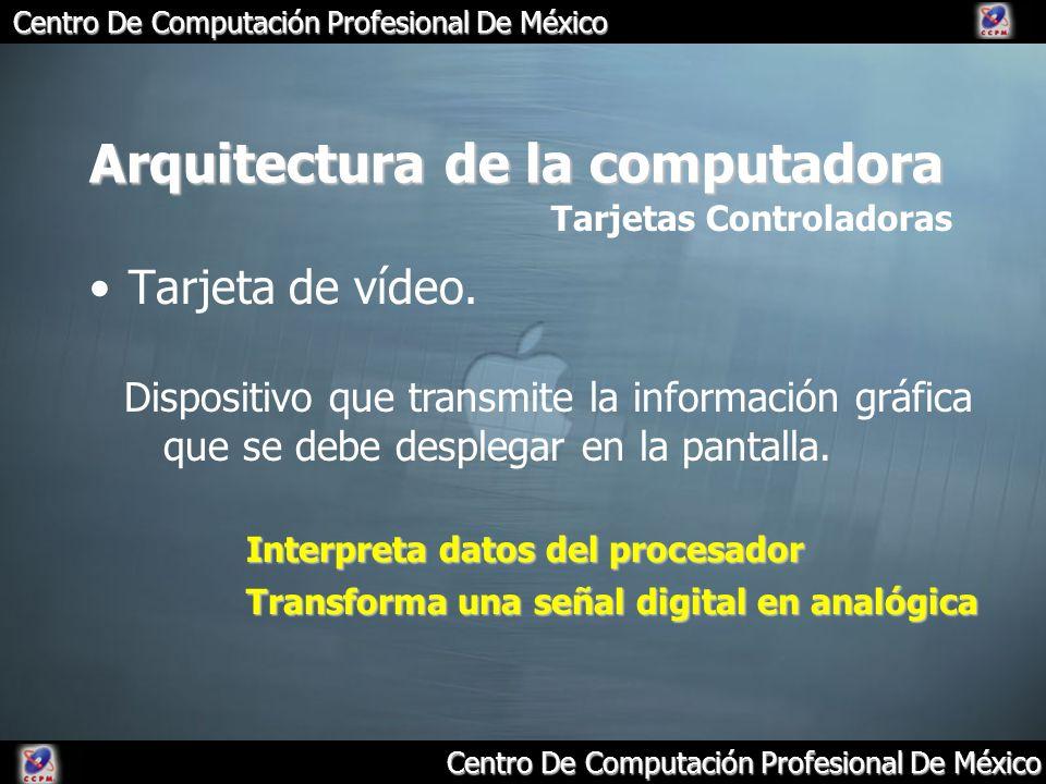 Centro De Computación Profesional De México Arquitectura de la computadora Tarjeta de vídeo. Tarjetas Controladoras Dispositivo que transmite la infor