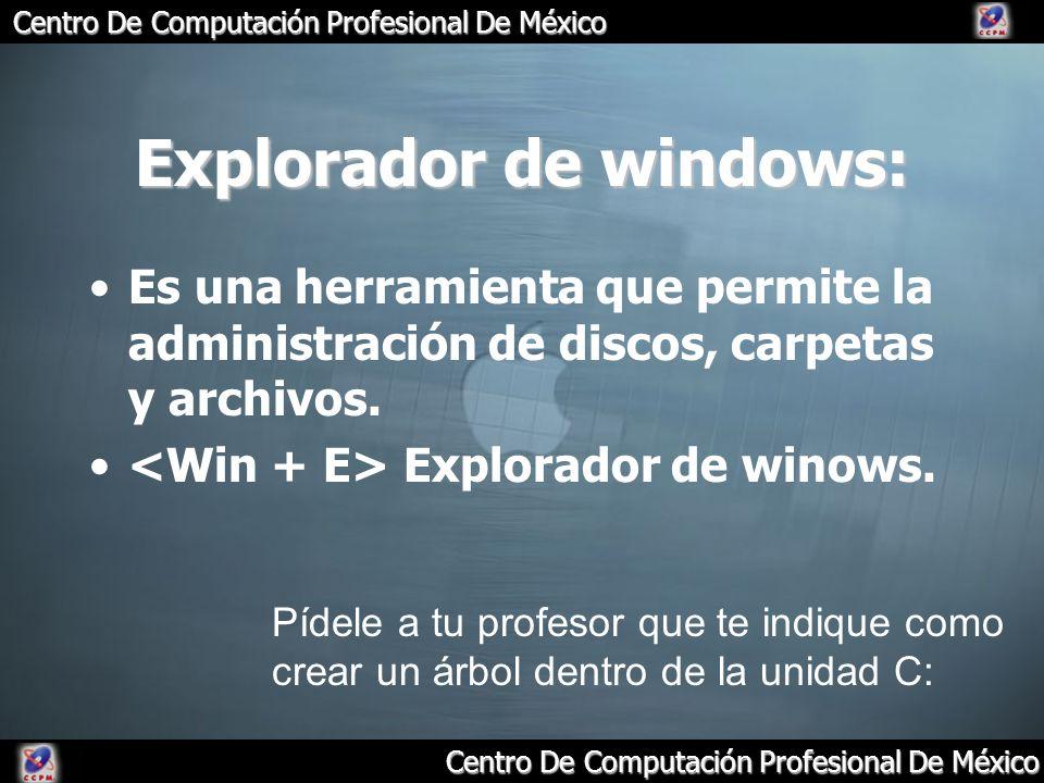 Centro De Computación Profesional De México Explorador de windows: Es una herramienta que permite la administración de discos, carpetas y archivos. Ex