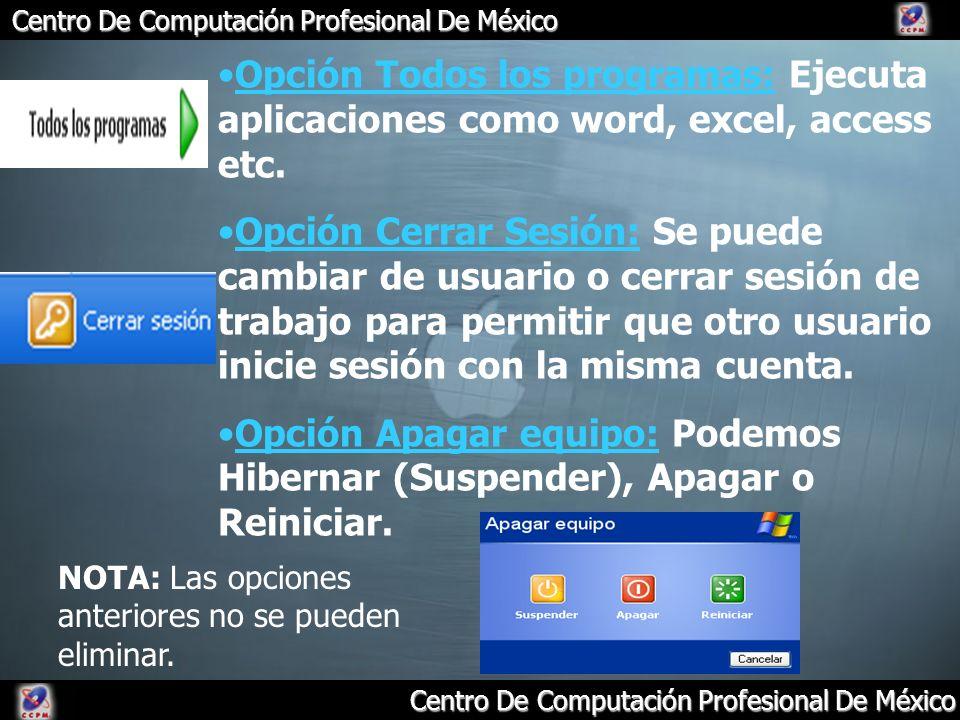 Centro De Computación Profesional De México Opción Todos los programas: Ejecuta aplicaciones como word, excel, access etc. Opción Cerrar Sesión: Se pu