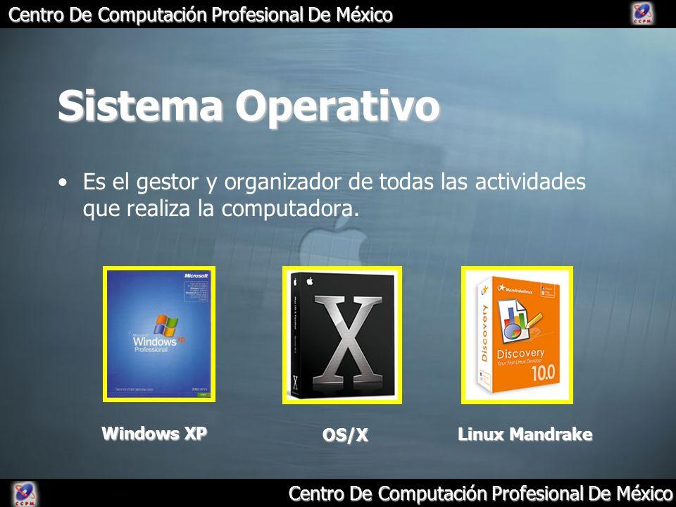 Centro De Computación Profesional De México Sistema Operativo Es el gestor y organizador de todas las actividades que realiza la computadora. Windows