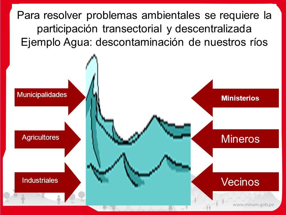 Para resolver problemas ambientales se requiere la participación transectorial y descentralizada Ejemplo Agua: descontaminación de nuestros ríos Munic