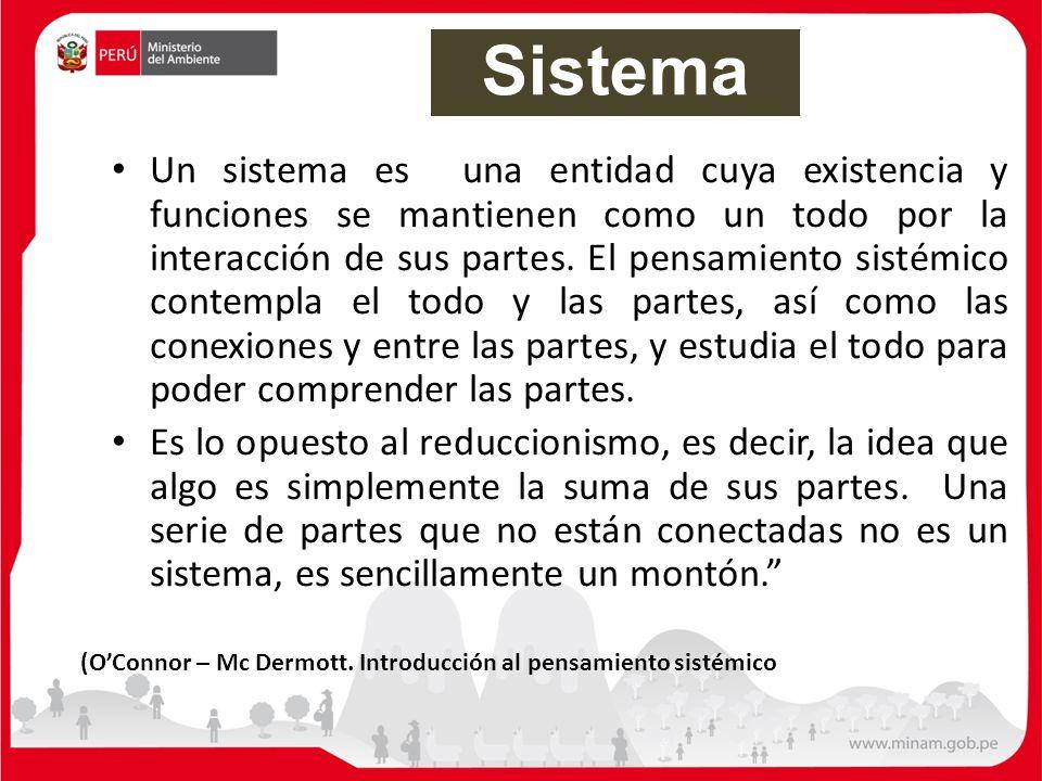 Un sistema es una entidad cuya existencia y funciones se mantienen como un todo por la interacción de sus partes. El pensamiento sistémico contempla e