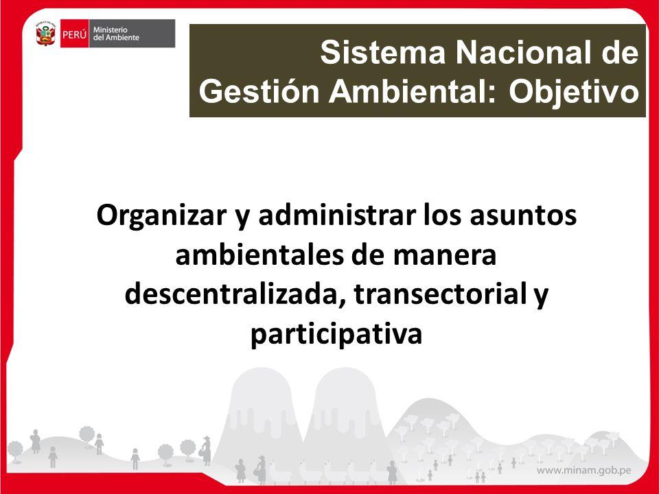 Organizar y administrar los asuntos ambientales de manera descentralizada, transectorial y participativa Sistema Nacional de Gestión Ambiental: Objeti