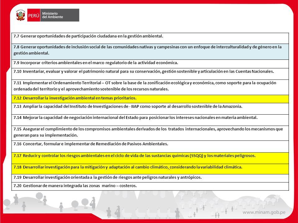 7.7 Generar oportunidades de participación ciudadana en la gestión ambiental. 7.8 Generar oportunidades de inclusión social de las comunidades nativas