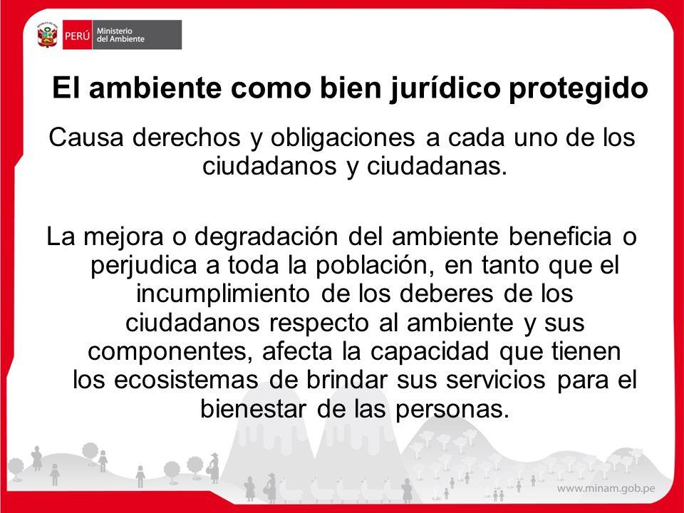 El ambiente como bien jurídico protegido Causa derechos y obligaciones a cada uno de los ciudadanos y ciudadanas. La mejora o degradación del ambiente
