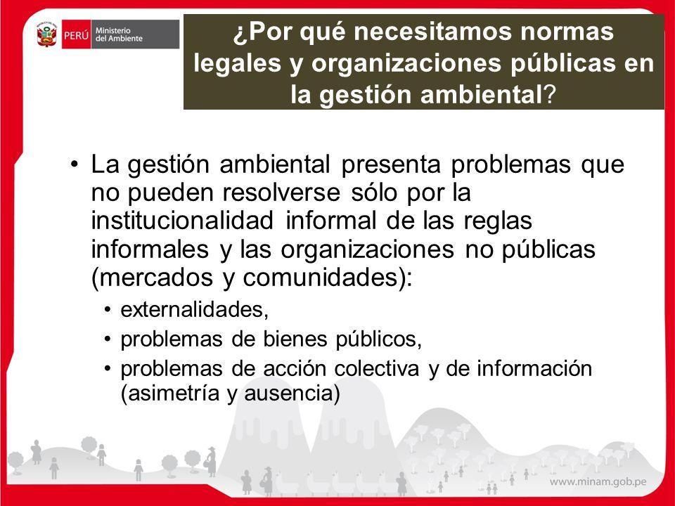 ¿Por qué necesitamos normas legales y organizaciones públicas en la gestión ambiental? La gestión ambiental presenta problemas que no pueden resolvers