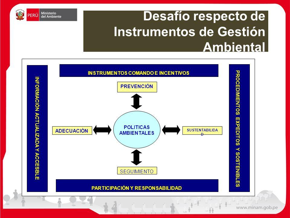 Desafío respecto de Instrumentos de Gestión Ambiental INSTRUMENTOS COMANDO E INCENTIVOS PARTICIPACIÓN Y RESPONSABILIDAD INFORMACIÓN ACTUALIZADA Y ACCE