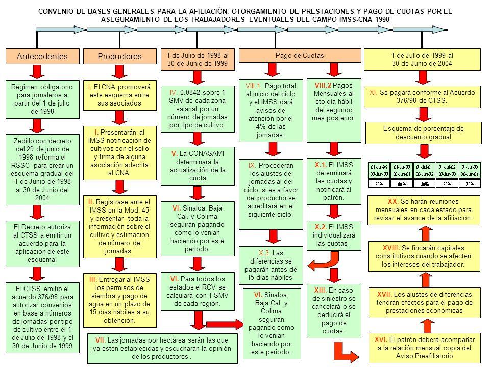 Antecedentes Régimen obligatorio para jornaleros a partir del 1 de julio de 1998 CONVENIO DE BASES GENERALES PARA LA AFILIACIÓN, OTORGAMIENTO DE PRESTACIONES Y PAGO DE CUOTAS POR EL ASEGURAMIENTO DE LOS TRABAJADORES EVENTUALES DEL CAMPO IMSS-CNA 1998 Zedillo con decreto del 29 de junio de 1998 reforma el RSSC para crear un esquema gradual del 1 de Junio de 1998 al 30 de Junio del 2004 El Decreto autoriza al CTSS a emitir un acuerdo para la aplicación de este esquema.