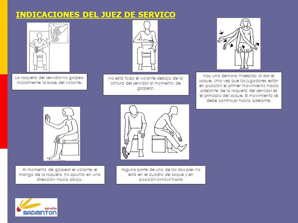 INDICACIONES DEL JUEZ DE SERVICO La raqueta del servidor no golpea inicialmente la base del volante. No está todo el volante debajo de la cintura del