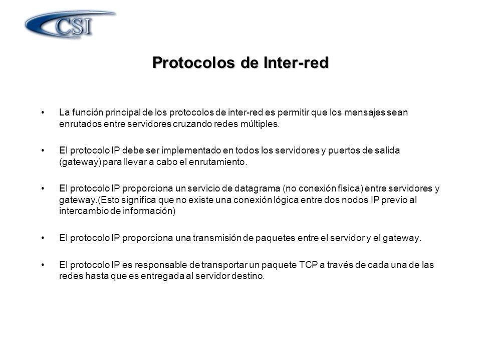 La función principal de los protocolos de inter-red es permitir que los mensajes sean enrutados entre servidores cruzando redes múltiples. El protocol