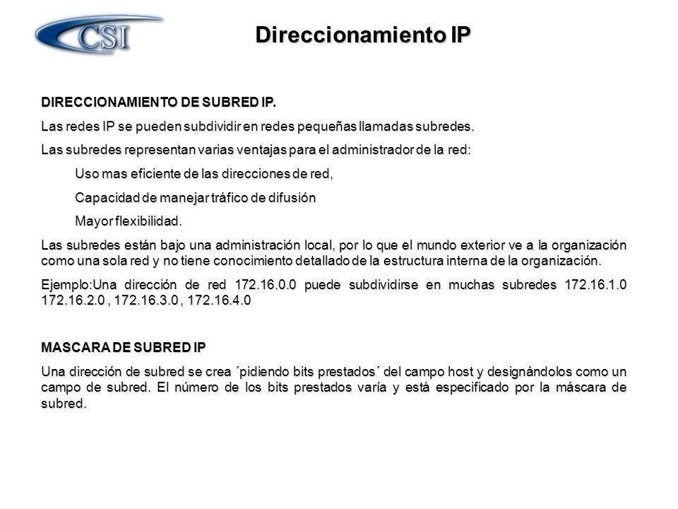 DIRECCIONAMIENTO DE SUBRED IP. Las redes IP se pueden subdividir en redes pequeñas llamadas subredes. Las subredes representan varias ventajas para el