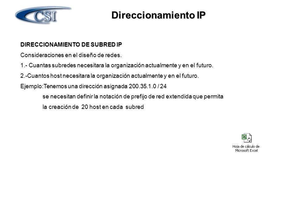 Direccionamiento IP DIRECCIONAMIENTO DE SUBRED IP Consideraciones en el diseño de redes. 1.- Cuantas subredes necesitara la organización actualmente y