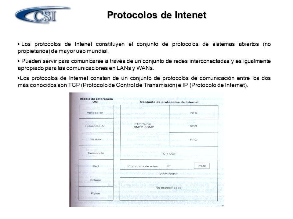Protocolos de Intenet Los protocolos de Intenet constituyen el conjunto de protocolos de sistemas abiertos (no propietarios) de mayor uso mundial. Los