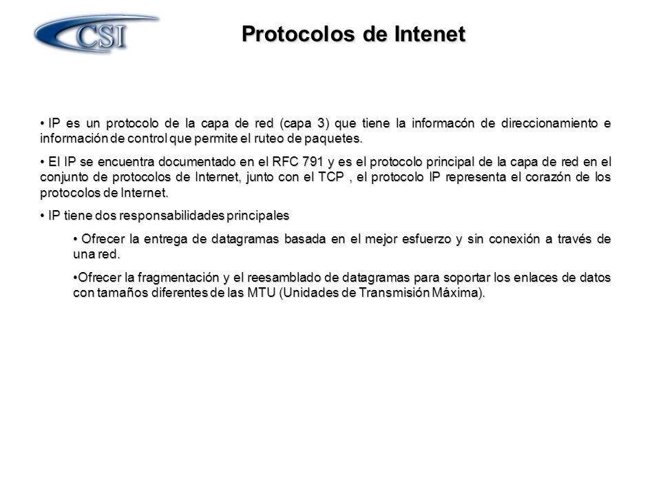 Protocolos de Intenet IP es un protocolo de la capa de red (capa 3) que tiene la informacón de direccionamiento e información de control que permite e