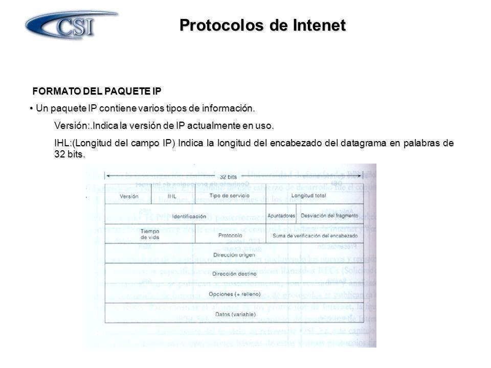 Protocolos de Intenet FORMATO DEL PAQUETE IP FORMATO DEL PAQUETE IP Tipo de Servicio:Especifica cómo desearía un protocolo de las capas superiores que se manejara un datagrama y les asigna diferentes niveles de acuerdo a su importancia.