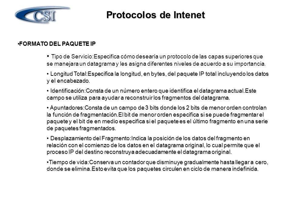 Protocolos de Intenet FORMATO DEL PAQUETE IP FORMATO DEL PAQUETE IP Protocolo:Indica qué protocolo de las capas superiores recibe los paquetes entrantes una vez terminado el procesamiento IP.