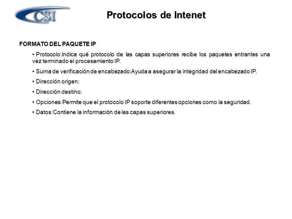 Protocolos de Intenet FORMATO DEL PAQUETE IP FORMATO DEL PAQUETE IP Protocolo:Indica qué protocolo de las capas superiores recibe los paquetes entrant