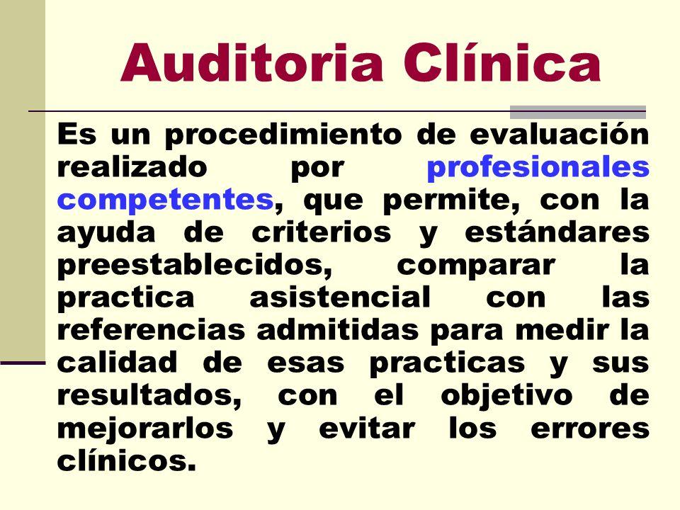 Auditoria Clínica Es un procedimiento de evaluación realizado por profesionales competentes, que permite, con la ayuda de criterios y estándares prees