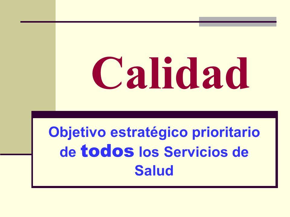Calidad Objetivo estratégico prioritario de todos los Servicios de Salud