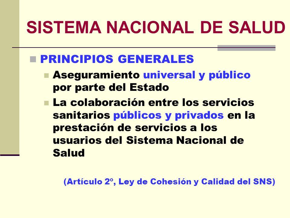 SISTEMA NACIONAL DE SALUD PRINCIPIOS GENERALES Aseguramiento universal y público por parte del Estado La colaboración entre los servicios sanitarios p