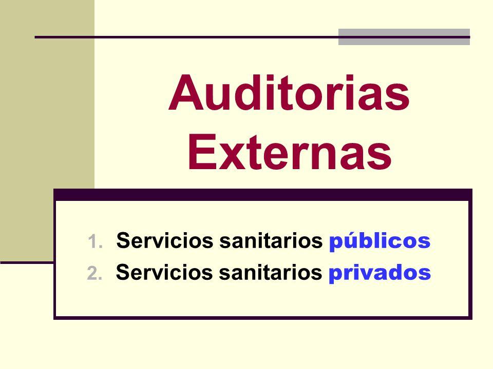 Auditorias Externas 1. Servicios sanitarios públicos 2. Servicios sanitarios privados