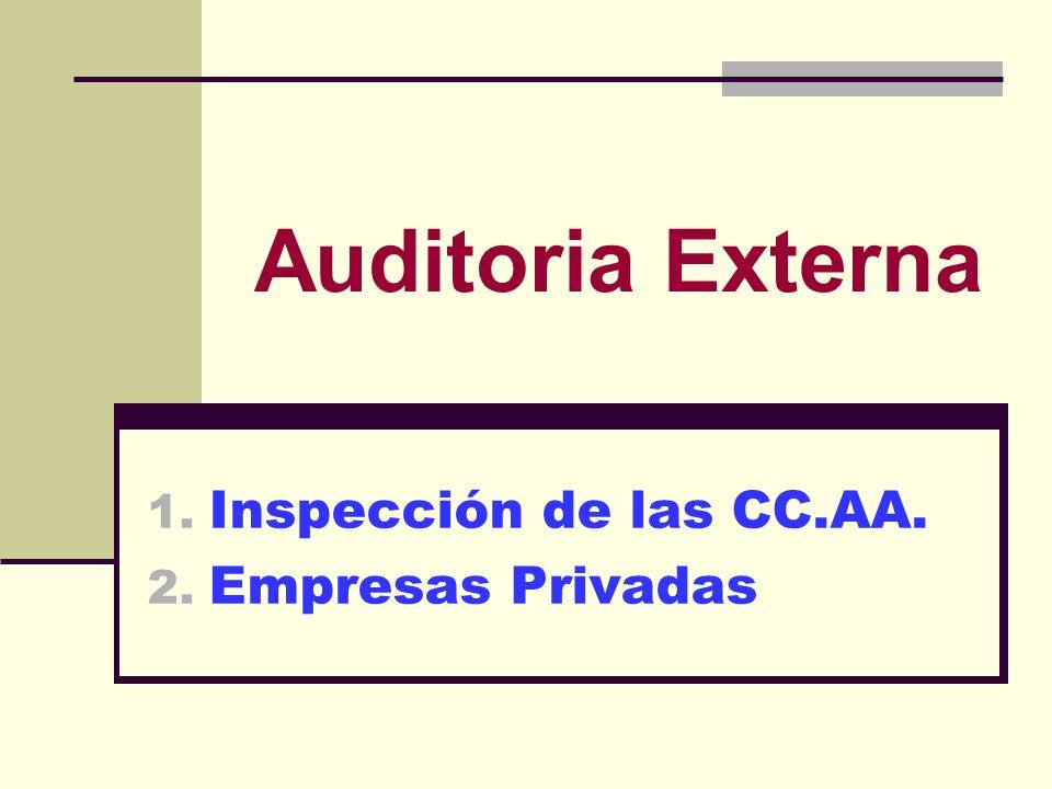 Auditoria Externa 1. Inspección de las CC.AA. 2. Empresas Privadas