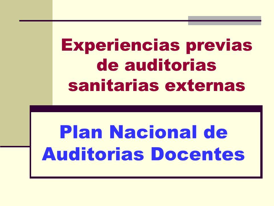 Experiencias previas de auditorias sanitarias externas Plan Nacional de Auditorias Docentes