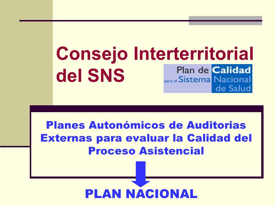 Consejo Interterritorial del SNS Planes Autonómicos de Auditorias Externas para evaluar la Calidad del Proceso Asistencial PLAN NACIONAL