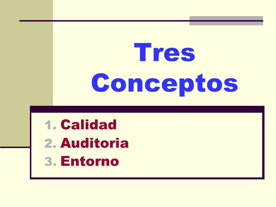 Tres Conceptos 1. Calidad 2. Auditoria 3. Entorno