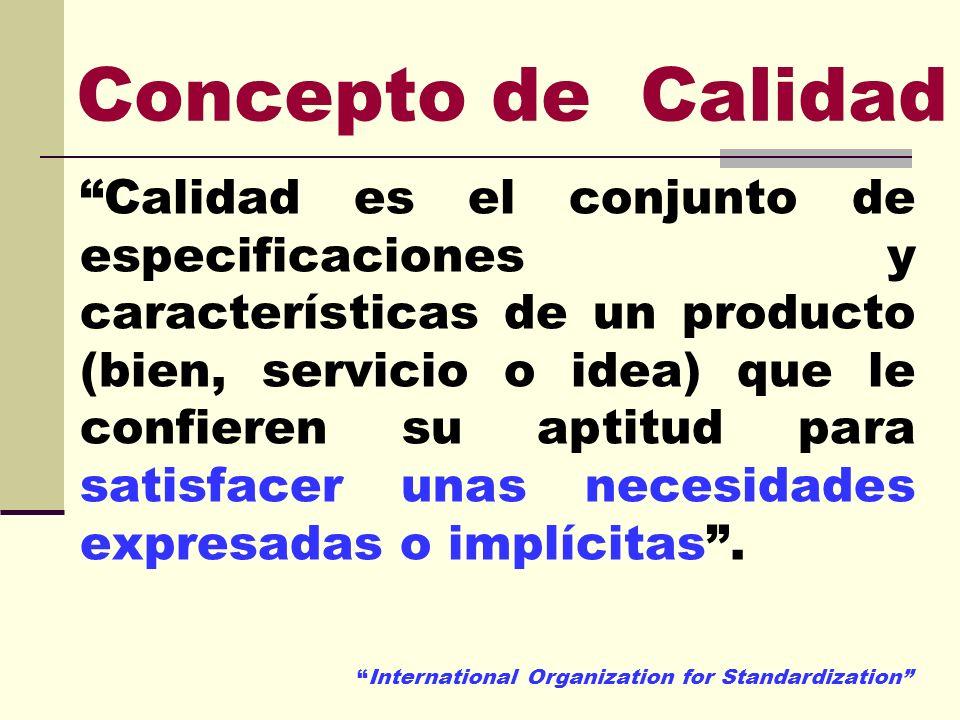 Concepto de Calidad Calidad es el conjunto de especificaciones y características de un producto (bien, servicio o idea) que le confieren su aptitud pa