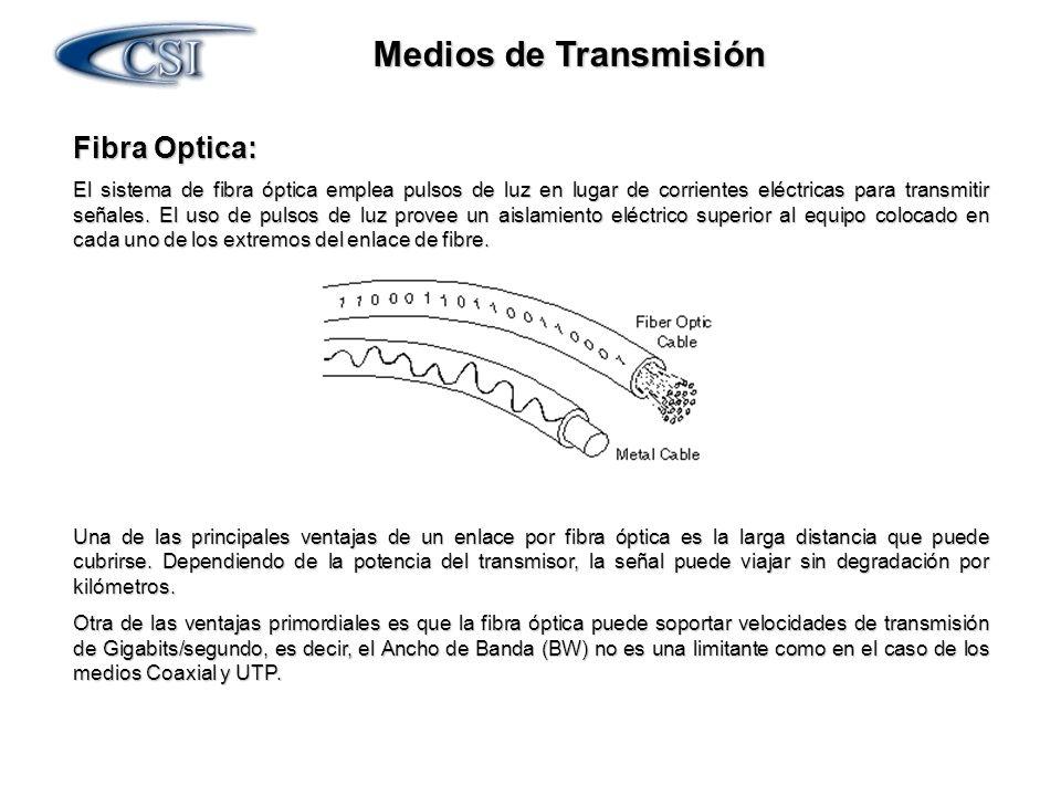 Medios de Transmisión Fibra Optica: El sistema de fibra óptica emplea pulsos de luz en lugar de corrientes eléctricas para transmitir señales. El uso