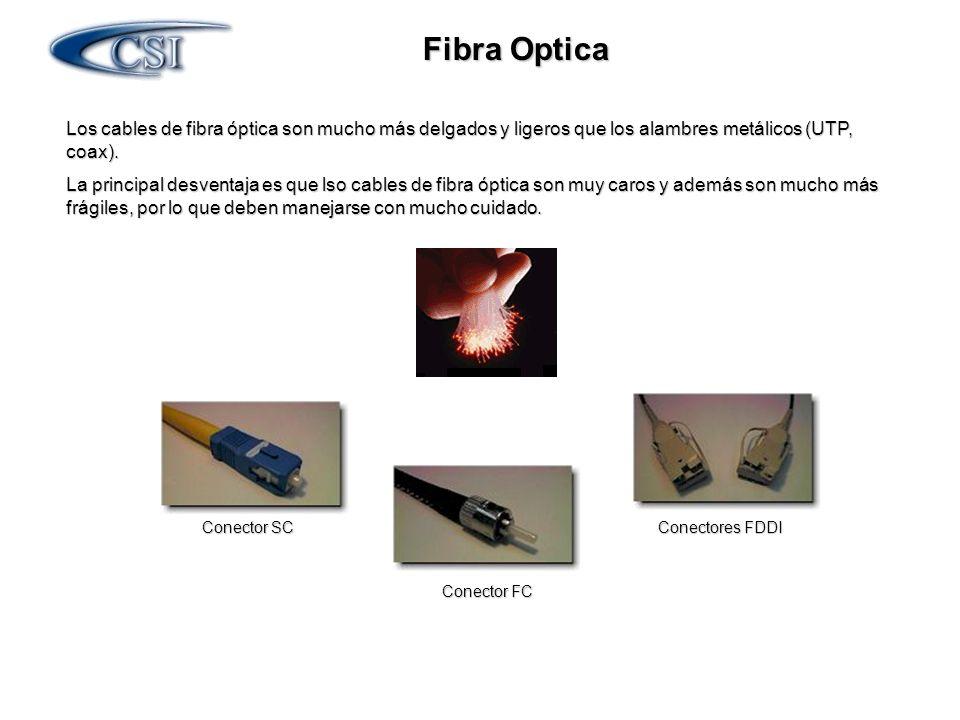 Los cables de fibra óptica son mucho más delgados y ligeros que los alambres metálicos (UTP, coax). La principal desventaja es que lso cables de fibra