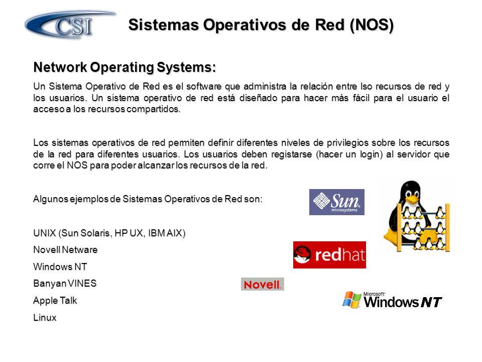 Sistemas Operativos de Red (NOS) Network Operating Systems: Un Sistema Operativo de Red es el software que administra la relación entre lso recursos d