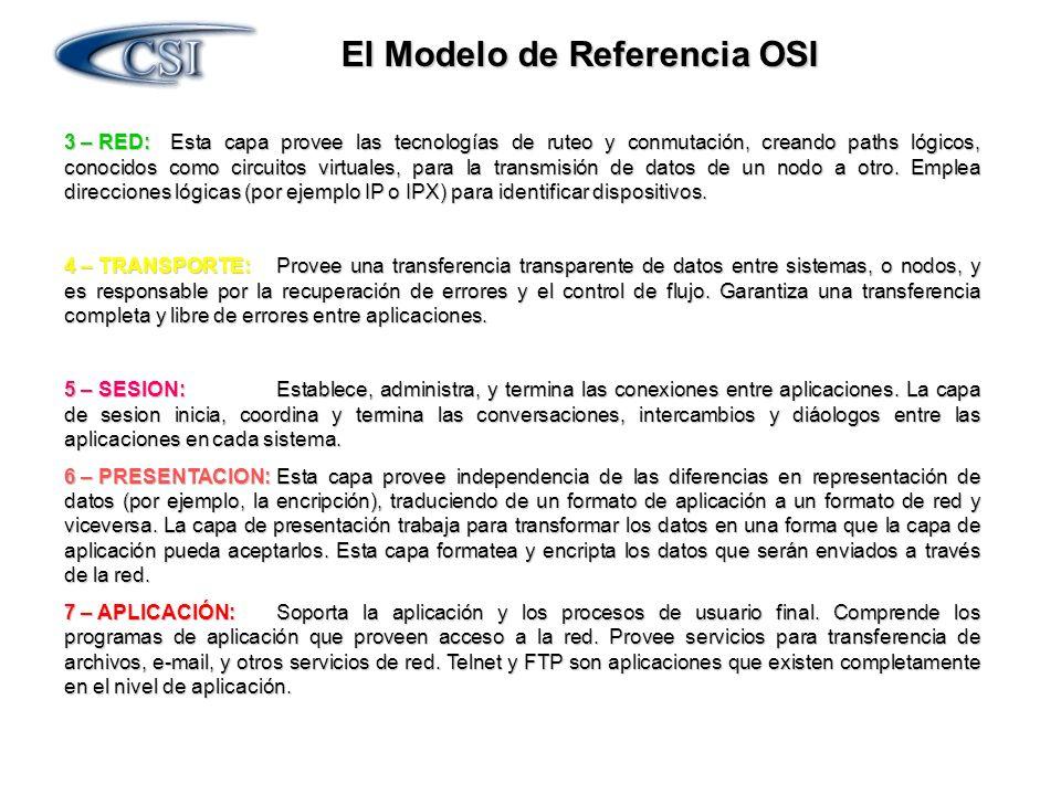 El Modelo de Referencia OSI 3 – RED:Esta capa provee las tecnologías de ruteo y conmutación, creando paths lógicos, conocidos como circuitos virtuales