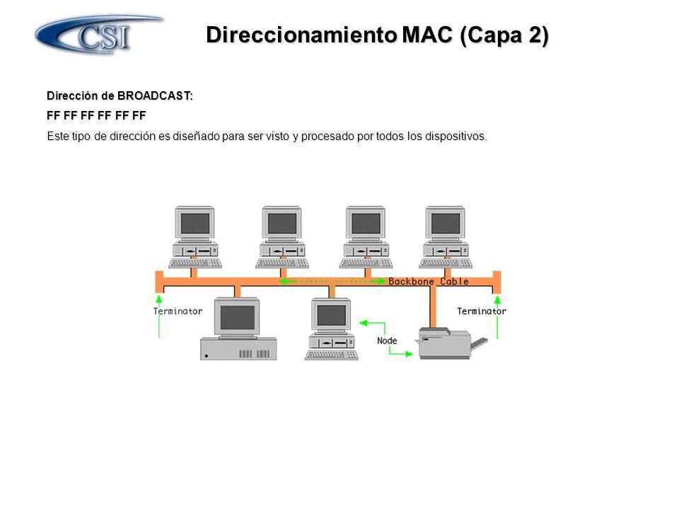 Direccionamiento MAC (Capa 2) Dirección de BROADCAST: FF FF FF FF FF FF Este tipo de dirección es diseñado para ser visto y procesado por todos los di