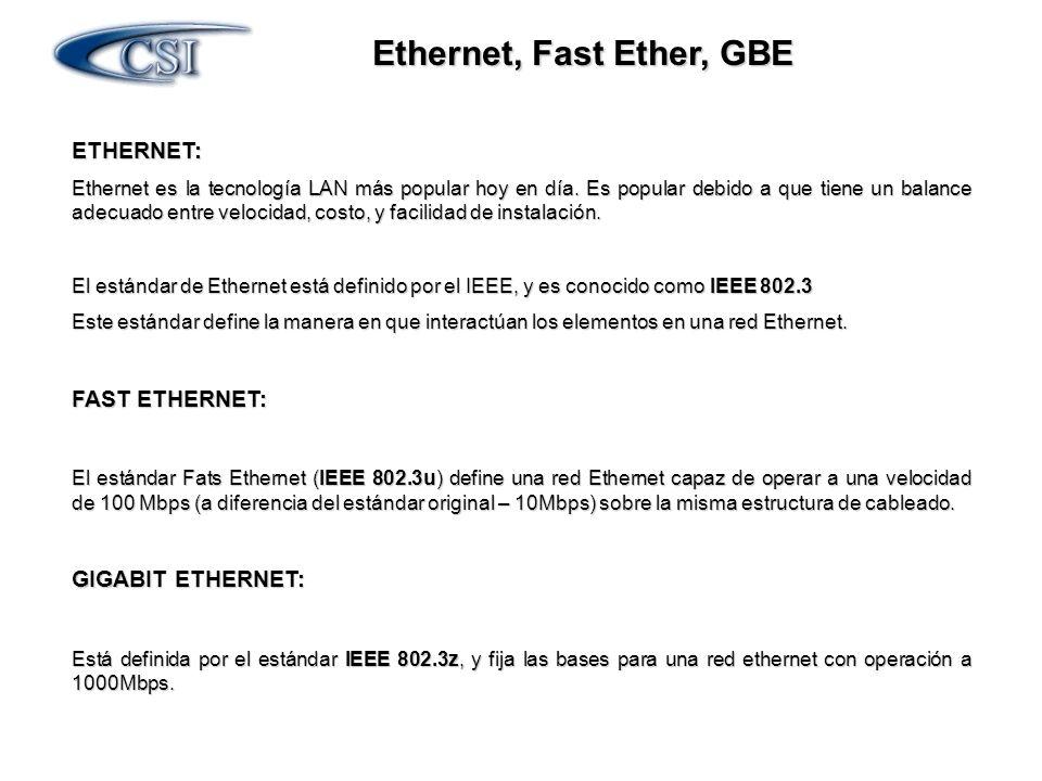 Ethernet, Fast Ether, GBE ETHERNET: Ethernet es la tecnología LAN más popular hoy en día. Es popular debido a que tiene un balance adecuado entre velo