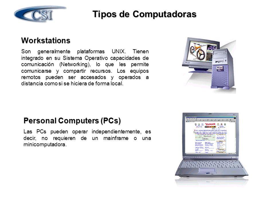 Tipos de Computadoras Workstations Son generalmente plataformas UNIX. Tienen integrado en su Sistema Operativo capacidades de comunicación (Networking