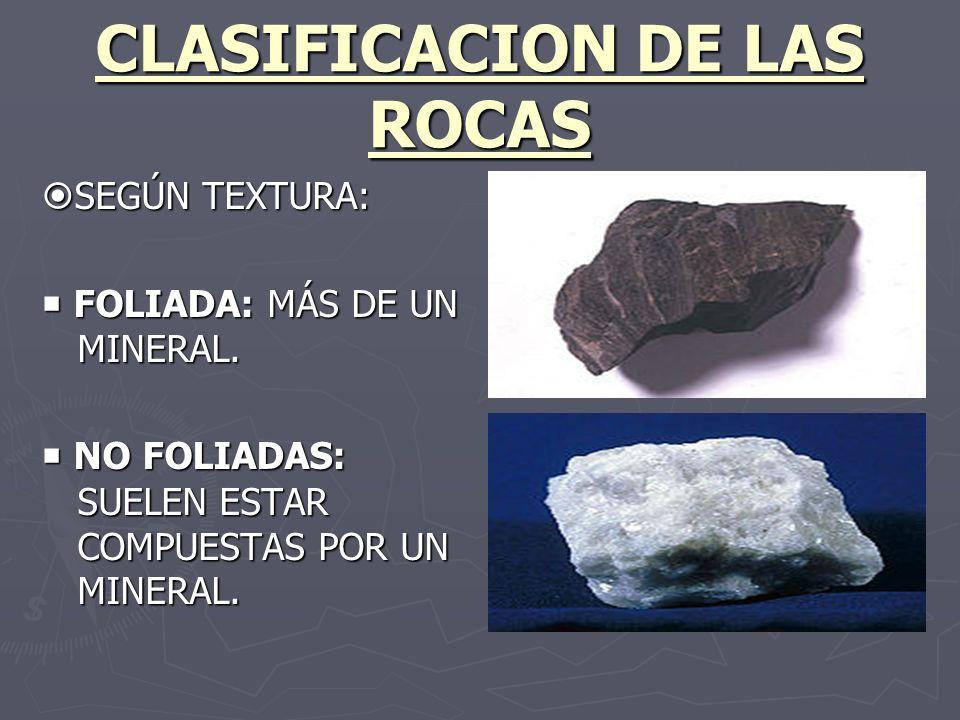 CLASIFICACION DE LAS ROCAS SEGÚN TEXTURA: SEGÚN TEXTURA: FOLIADA: MÁS DE UN MINERAL. FOLIADA: MÁS DE UN MINERAL. NO FOLIADAS: SUELEN ESTAR COMPUESTAS