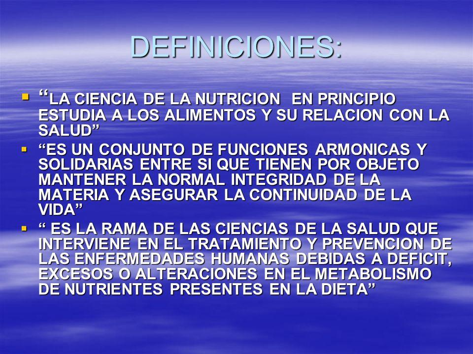 DEFINICIONES: LA CIENCIA DE LA NUTRICION EN PRINCIPIO ESTUDIA A LOS ALIMENTOS Y SU RELACION CON LA SALUD LA CIENCIA DE LA NUTRICION EN PRINCIPIO ESTUD