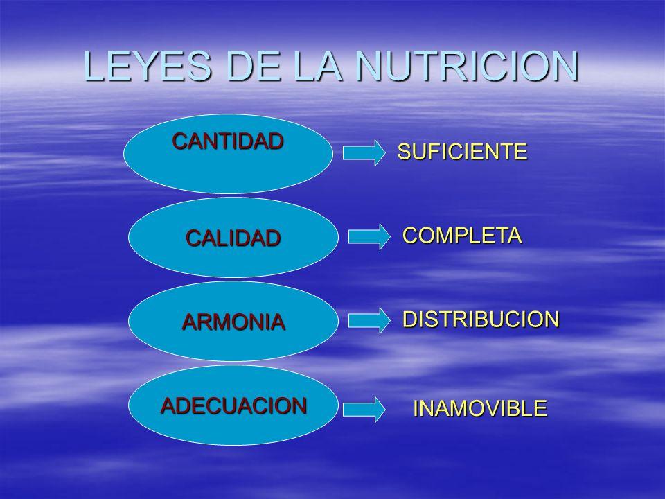 LEYES DE LA NUTRICION CANTIDAD CALIDAD ADECUACION ARMONIA SUFICIENTE COMPLETA DISTRIBUCION INAMOVIBLE