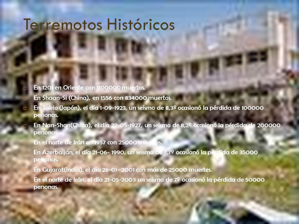 Terremotos Históricos En 1201 en Oriente con 1100000 muertos. En Shaan-Si (China), en 1556 con 834000 muertos. En Tokio (Japón), el día 1-09-1923, un