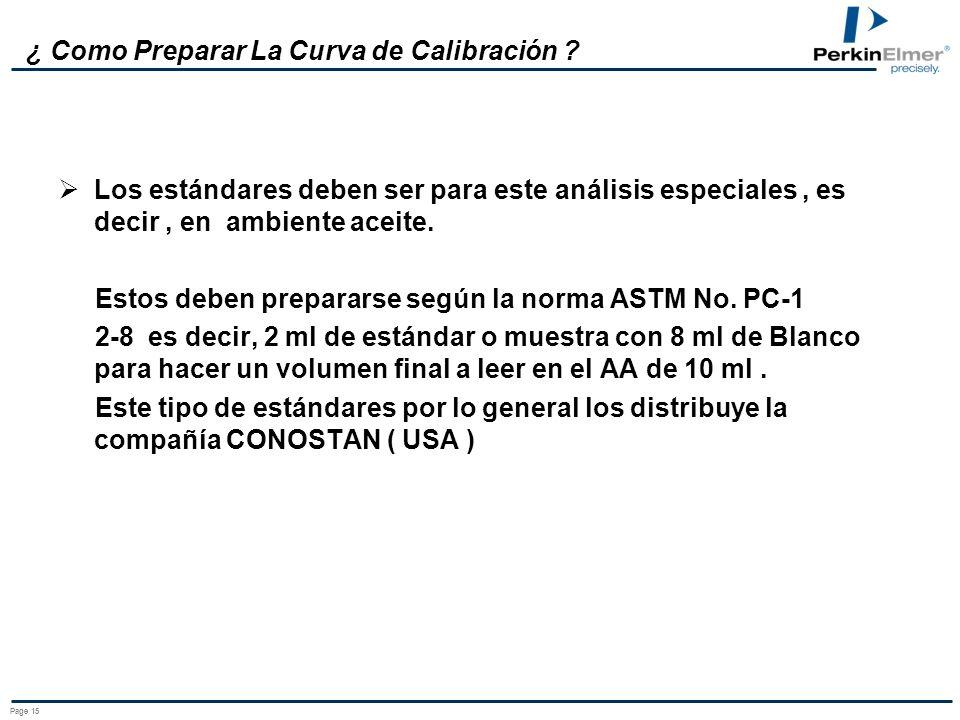 Page 14 ¿ Como Preparar La Curva de Calibración ? Blanco O Cero Calibración ( Lubricantes ): Este debe ser Xileno / Tolueno o su derivados con el fin