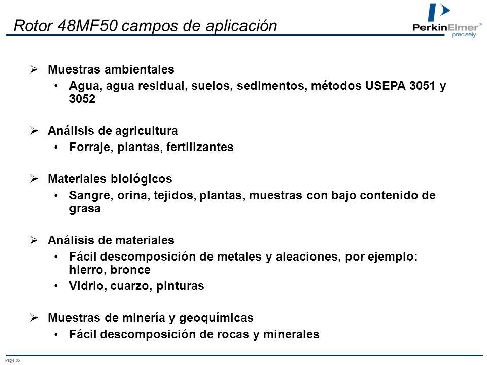 Page 34 Nuevo Rotor 48MF50 La solución para un carga muy grande de muestras para: Muestras ambientales Materiales biológicos Alimentos Aplicaciones cl