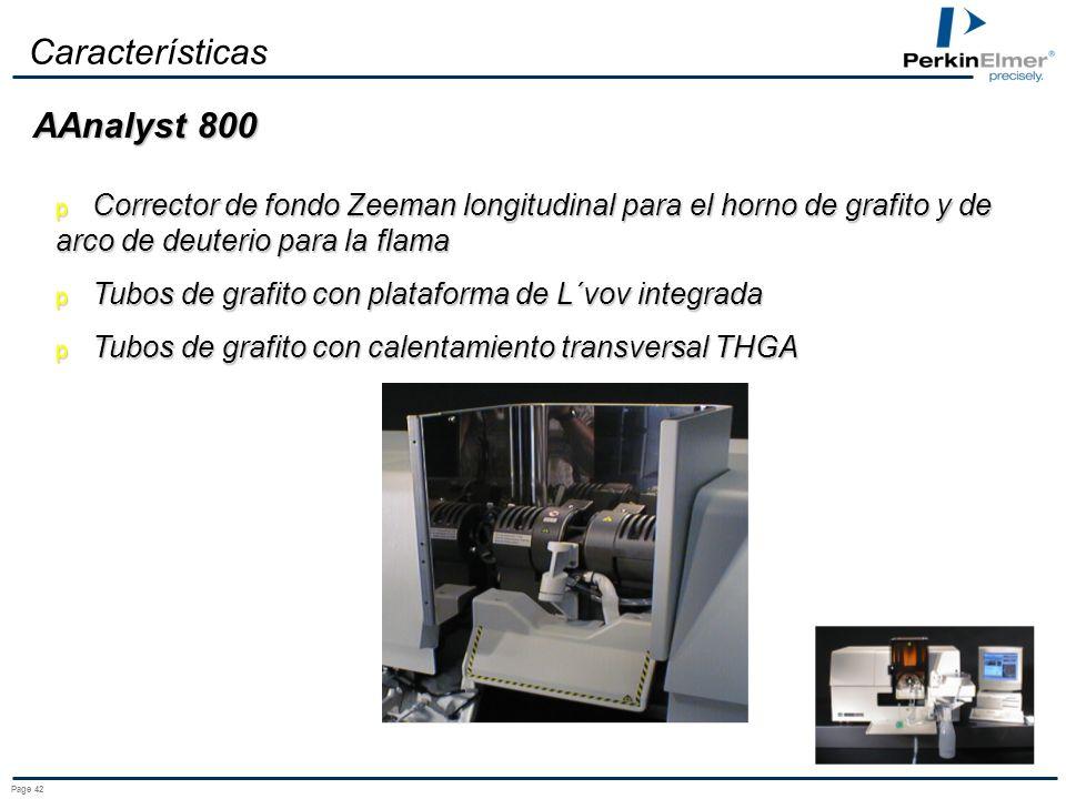 Page 41 Características Corrector de fondo de arco de deuterio para la flama y el horno de grafito Tubos de grafito con plataforma de L´vov integrada