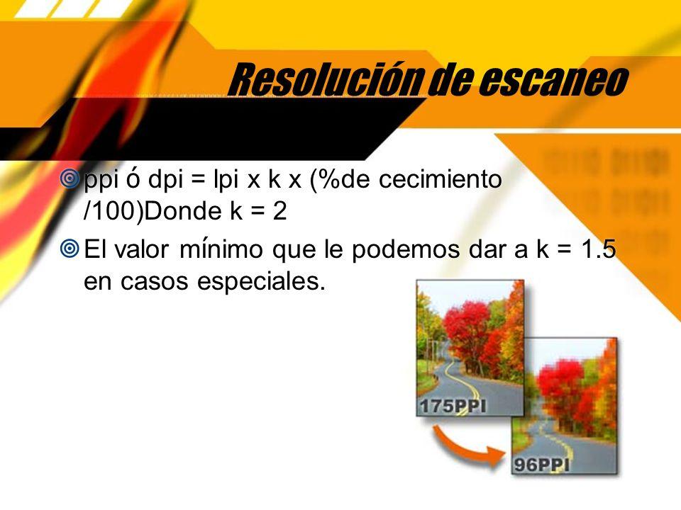 Resolución de salida La resoluci ó n de salida recomendada es la siguiente: De 1 a 120 lpi resoluci ó n de 1200 dpi De 121 a 200 lpi resoluci ó n de 2400 dpi De 200 lpi en adelante resoluci ó n de 3600 dpi El n ú mero de lpi recomendado es el siguiente: Serigraf í a Textil 30 lpi Flexograf í a 50 lpi Serigraf í a 65 lpi Peri ó dicos 85 lpi Peri ó dicos de calidad 100 lpi Offset mediana calidad 133 lpi Offset de calidad 150 lpi Offset de alta calidad 200 lpi Libro de arte 300 lpi La resoluci ó n de salida recomendada es la siguiente: De 1 a 120 lpi resoluci ó n de 1200 dpi De 121 a 200 lpi resoluci ó n de 2400 dpi De 200 lpi en adelante resoluci ó n de 3600 dpi El n ú mero de lpi recomendado es el siguiente: Serigraf í a Textil 30 lpi Flexograf í a 50 lpi Serigraf í a 65 lpi Peri ó dicos 85 lpi Peri ó dicos de calidad 100 lpi Offset mediana calidad 133 lpi Offset de calidad 150 lpi Offset de alta calidad 200 lpi Libro de arte 300 lpi