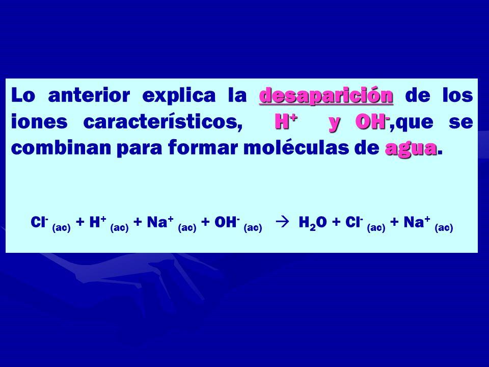 desaparición H + y OH - agua Lo anterior explica la desaparición de los iones característicos, H + y OH -,que se combinan para formar moléculas de agu