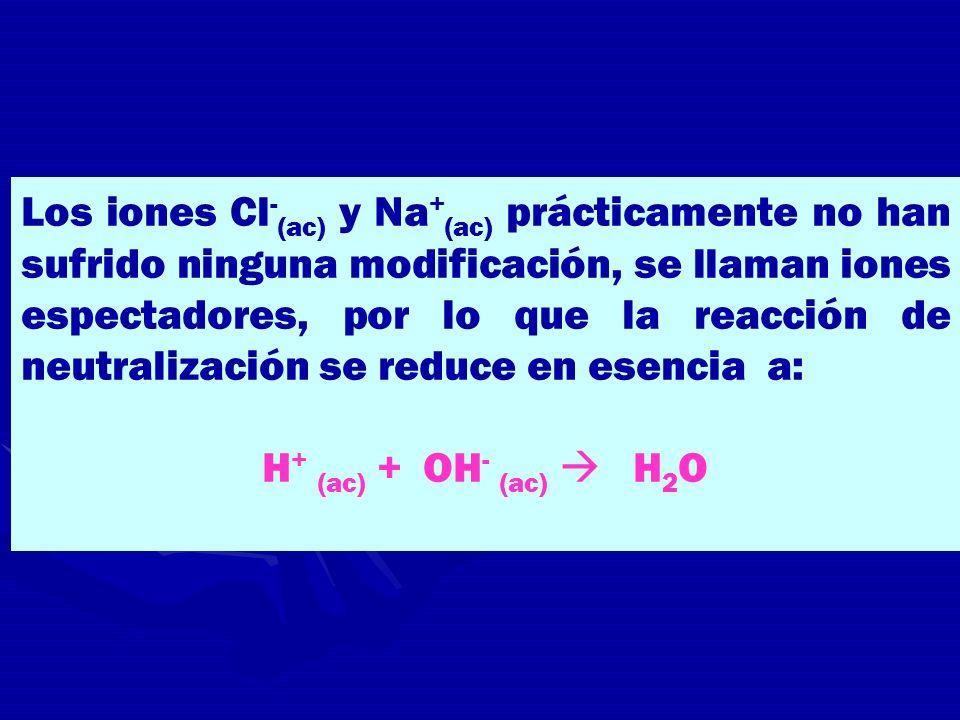 Los iones Cl - (ac) y Na + (ac) prácticamente no han sufrido ninguna modificación, se llaman iones espectadores, por lo que la reacción de neutralizac
