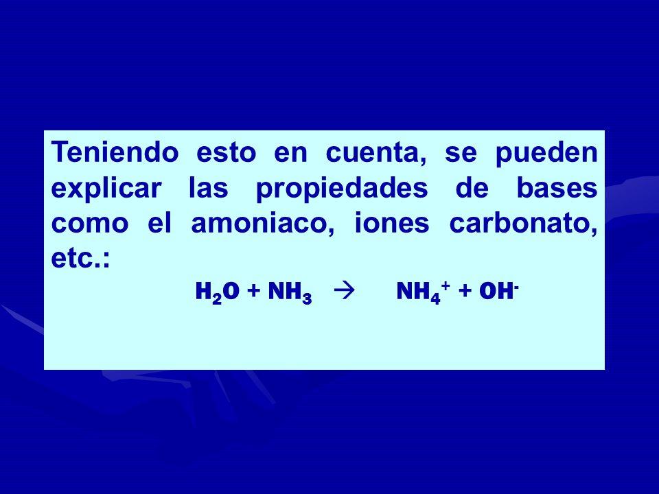 Teniendo esto en cuenta, se pueden explicar las propiedades de bases como el amoniaco, iones carbonato, etc.: H 2 O + NH 3 NH 4 + + OH -
