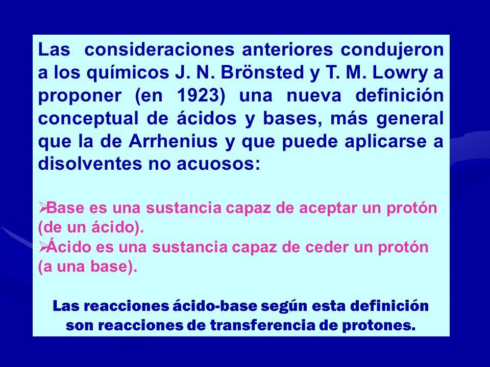 Las consideraciones anteriores condujeron a los químicos J. N. Brönsted y T. M. Lowry a proponer (en 1923) una nueva definición conceptual de ácidos y