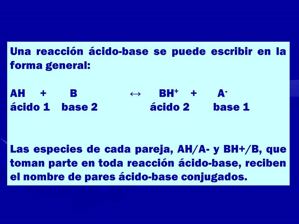 Una reacción ácido-base se puede escribir en la forma general: AH + B BH + + A - ácido 1 base 2 ácido 2 base 1 Las especies de cada pareja, AH/A- y BH